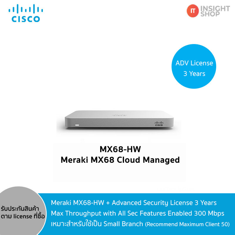 Meraki MX68-HW + Advanced Security License 3 Years