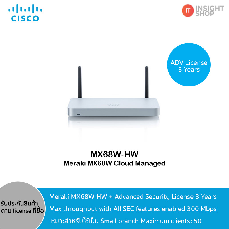 Meraki MX68W-HW + Advanced Security License 3 Years