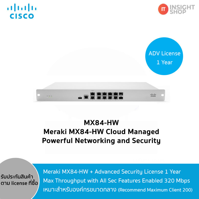 Meraki MX84-HW + Advance Security License 1 Year
