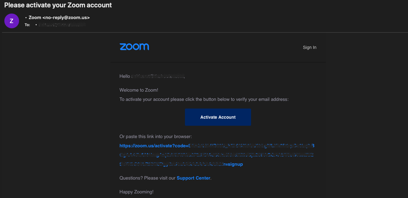 email from zoom