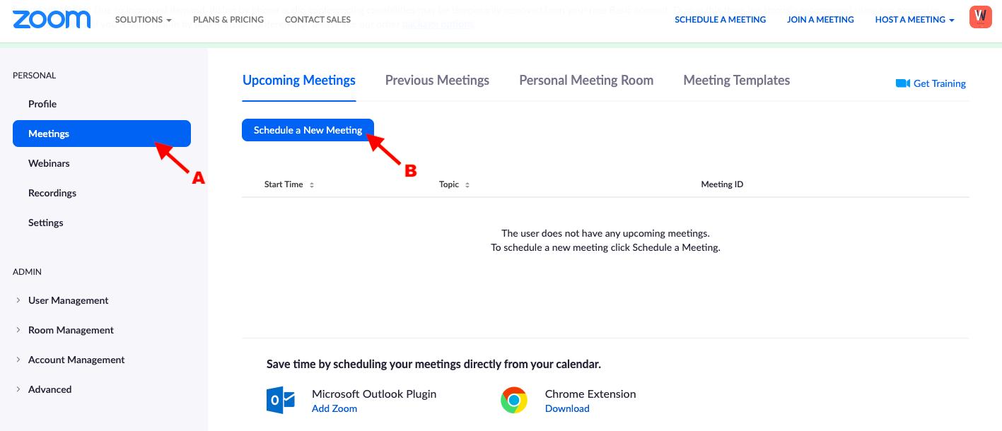 Zoom setup meetings